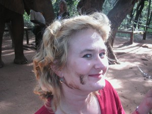 Marnie proudly displaying elephant poo foundation cream! from Bruce