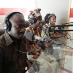 Natalie 'on air' at Paradise FM, with Lamin & Aminata