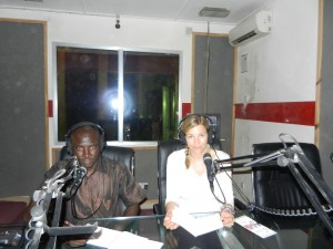 Anke on a radio show in The Gambia
