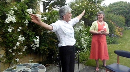 """Come and join us"" or ""if i only had wings"" Kate welcoming all at the June volunteer social"