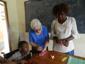 Yvonne working at Gedes School Kenya