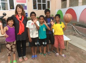 Dot with some of the children from Naxal