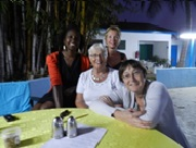 Dianne (right) with volunteers Natalie Yvonne and Esme in The Gambia