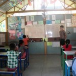 attentive pupils in an airy classroom