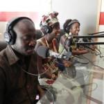 Natalie 'on air' at Paradise FM, with Lamin & Aminata